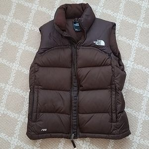 North Face brown puffy vest size s